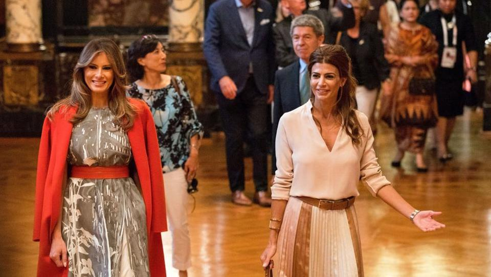 U.S. First Lady Melania Trump (L) and Argentina President's wife Juliana Awada and other spouses attend a G20 leaders spouses event. (REUTERS)