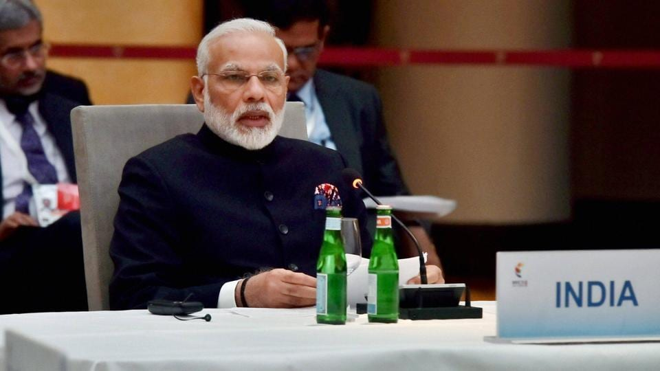 Prime Minister Narendra Modi speaks at the G-20 Summit in Hamburg, Germany on Friday.