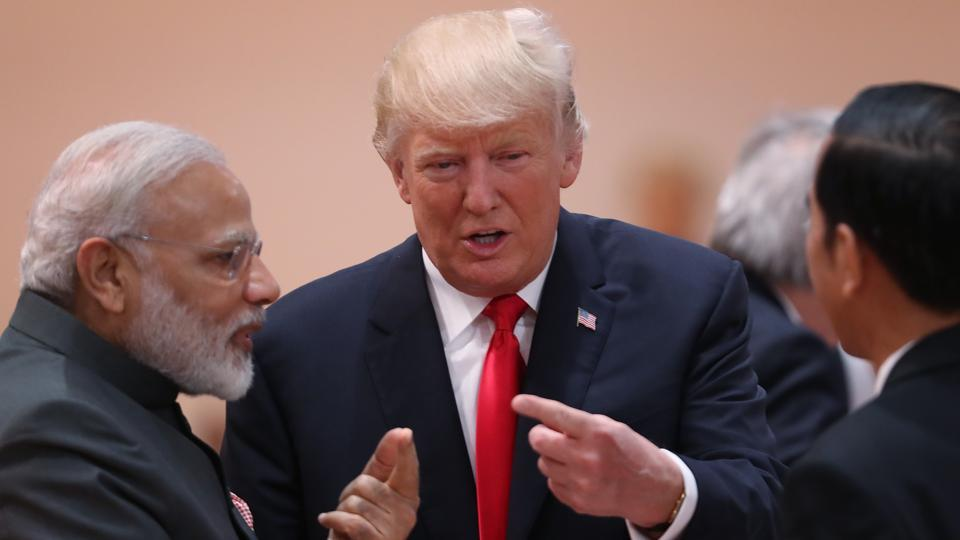 "U.S. President Donald Trump chats with Indian Prime Minister Narendra Modi (L) prior to the morning working session on the second day of the G20 economic summit in Hamburg, Germany.  As G20 leaders continued their Summit discussions for the second day here today, US President Donald Trump today walked up to Prime Minister Narendra Modi for ""an impromptu interaction"""