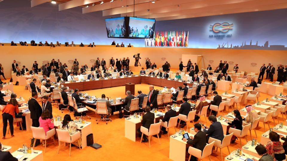 General view shows participants of the G20 taking their seats at the beginning of their third working session in Germany.  (REUTERS)