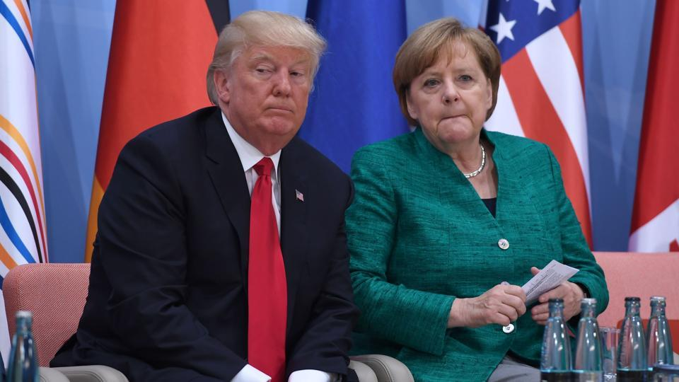 US President Donald Trump and German Chancellor Angela Merkel at the G20 Summit in Hamburg, Germany, July 8, 2017.