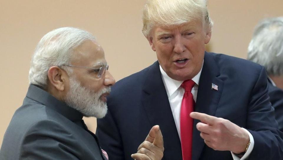Prime Minister Narendra Modi, in conversation with US President Donald Trump during a working session of the G20 summit in Hamburg on Saturday, July 8, 2017.
