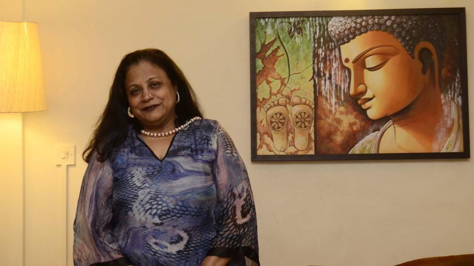 Women entrepreneur Dina Vallecha at her office in Pune.