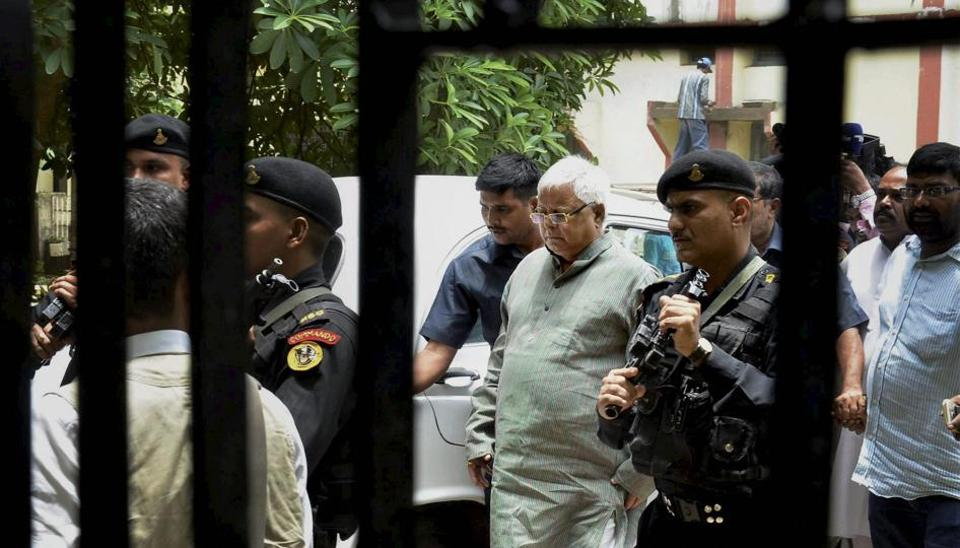 RJD Supremo Lalu Prasad Yadav arrives to appear before CBI Court in a case related to Fodder scam in Ranchi on July 7, 2017.