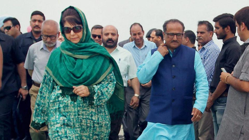 Jammu and Kashmir deputy chief minister Nirmal Kumar Singh (in blue kurta), seen here with CM Mehbooba Mufti, says Pakistan always tries to create problems in the state.