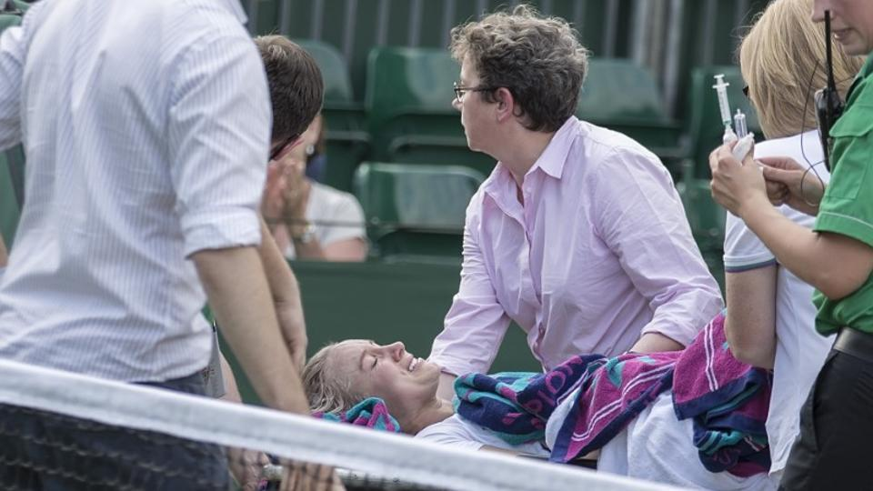 Bethanie Mattek-Sands had to be wheeled away on a stretcher after suffering a bad knee injury.