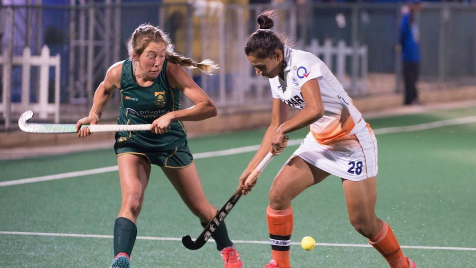 Indian women's team held South Africa to 0-0 draw in their first match of the Hockey World League Semi-Final on Saturday.