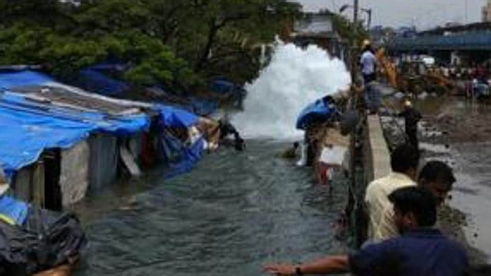 Two children of a family drowned after a pipeline burst at a slum in Bandra (East) on Friday.