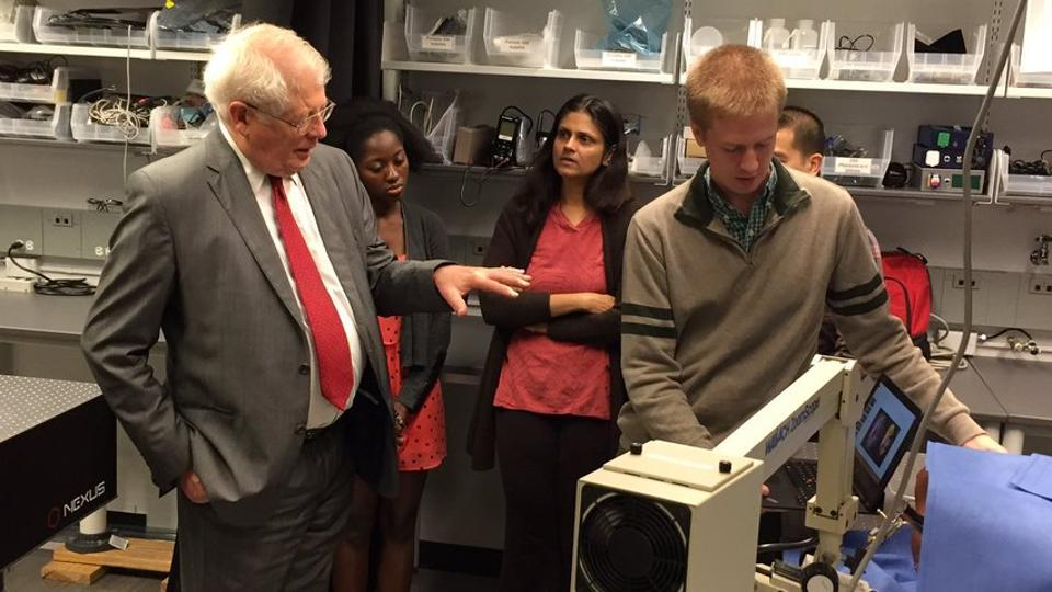 Nimmi Ramanujam (centre) and her team explaining a project at Duke University in North Carolina. (Photo: Twitter)