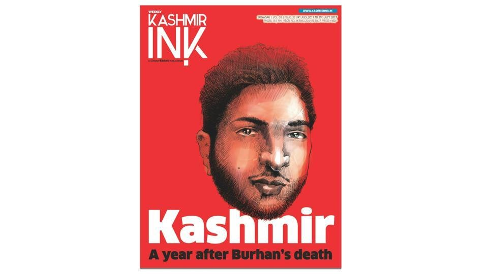 The front cover of Kashmir Ink's latest issue with the headline:Kashmir, A Year After Burhan's Death.
