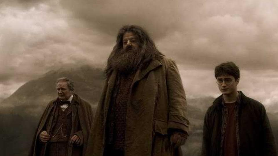 Professor Horace Slughorn , Hagrid and Harry Potter at Aragog's funeral in a still from the seventh film Harry Potter and the Half-Blood Prince (2009).