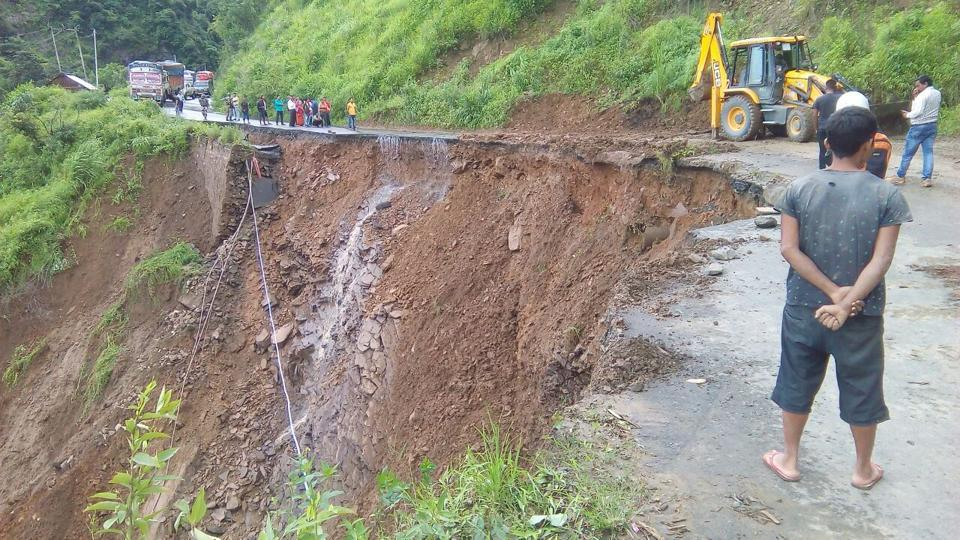 The Imphal-Jiribam highway in Manipur that broke off between Sinam and Laijan villages on Sunday.