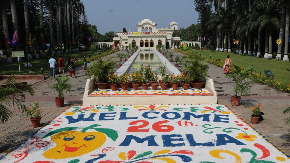 The 26th Mango Mela started with much fanfare and enthusiasm at Pinjore Gardens on Saturday. Over 3,000 different mango varieties are likely to be showcased at this annual affair that attracts mango lovers from across the region. (Bhartesh Thakur/HT Photo)