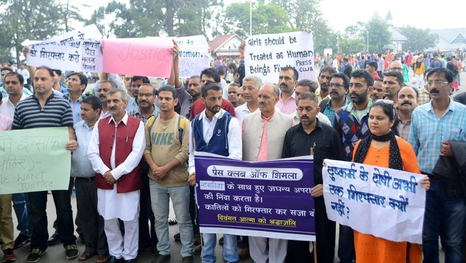 Press Club of Shimla along with locals organised a candle march on the ridge in Shimla on Sunday.