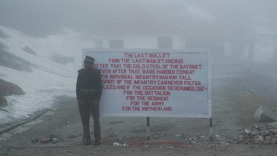An Indian Army personnel at the Nathula Pass near the India-China border in Sikkim.