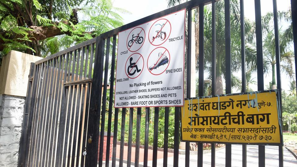 The board outside Yashwant Ghadge Nagar Society garden in Pune says it all.