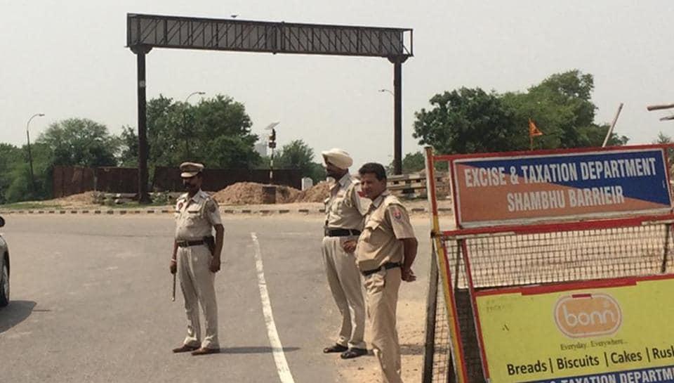 Police installed barricade at Punjab-Haryana border in Shamabu near Patiala on Sunday.