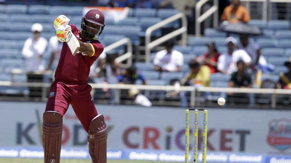 Evin Lewis in action during West Indies' one-off T20I against India at Kingston, Jamaica. Get full cricket score of India vs West Indies here