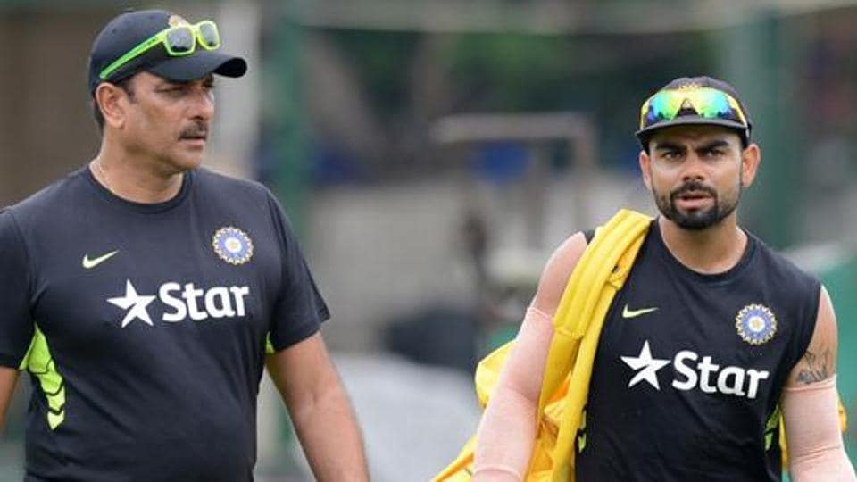A file photo of new Indian team head coach Ravi Shastri and captain Virat Kohli .  No top team in world cricket can boast of such a star-studded line-up of coaches -- including Shastri, Zaheer Khan and Rahul Dravid -- with a cumulative Test experience of 336 Test matches and 694 ODIs.