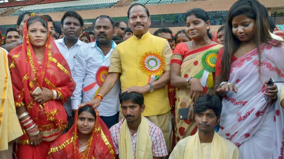 Jharkhand chief minister Raghubar Das (in yellow) during an earlier social event in Ranchi.