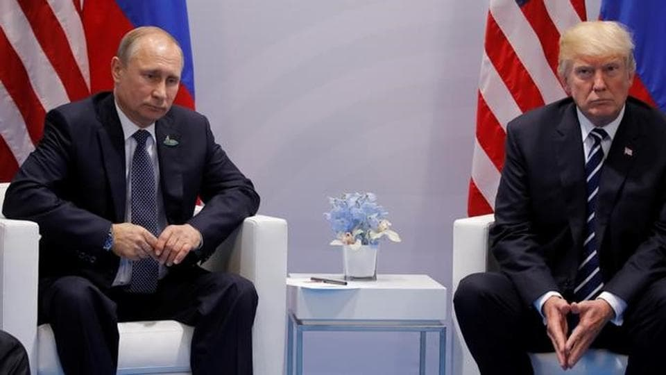 US President Donald Trump meets with Russian President Vladimir Putin during their bilateral meeting at the G20 summit in Hamburg, Germany on July 7.