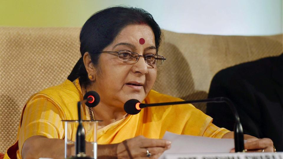 New Delhi: External Affairs Minister Sushma Swaraj delivering her keynote address on ASEAN-India partnership in New Delhi.
