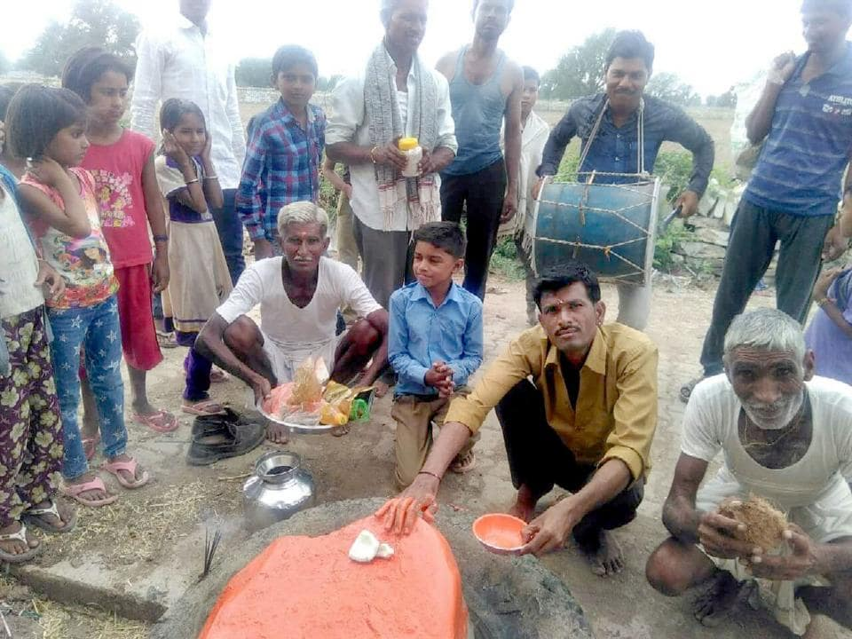 People of a village in Kota district worship a rock as Ghas Bheru before taking it in a procession to appease the rain god. Rain has remained elusive in Hadauti  region after the monsoon reached Rajasthan.