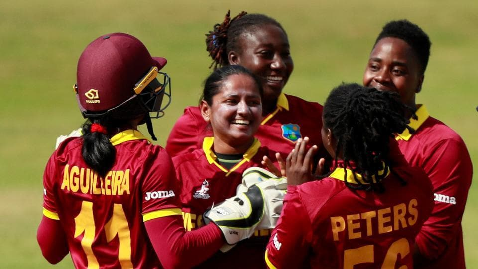 West Indies' Anisa Mohammed celebrates taking the wicket of Sri Lanka's Dilani Manodara Action during an ICCWomen's World Cup 2017 match in Derby on Sunday. Get full cricket score of Sri Lanka vs West Indies here.