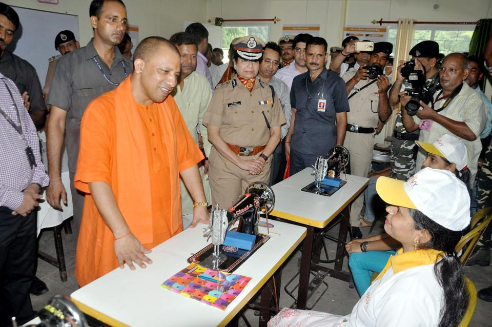 Uttar Pradesh chief minister Yogi Adityanath visits a skill development centre in Gorakhpur on Sunday.