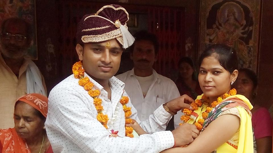 Varsha Sahu also know as Revolver Rani  at her marriage in Hamirpur with Ashok Yadav whom she had kidnapped last May when he was about to marry  another woman.