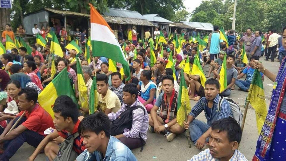 Indigenous People's Front of Tripura  activists started an indefinite blockade at Khamting in Barmura Range of National Highway 8 on Monday.