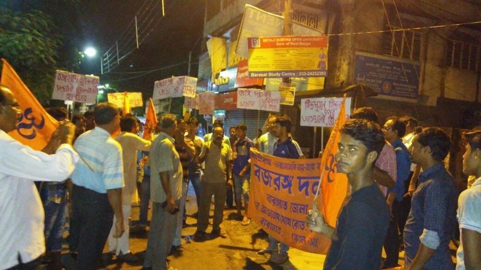A Bajrang Dal protest march in Barasat, North 24 Parganas district last week against Basirhat violence.