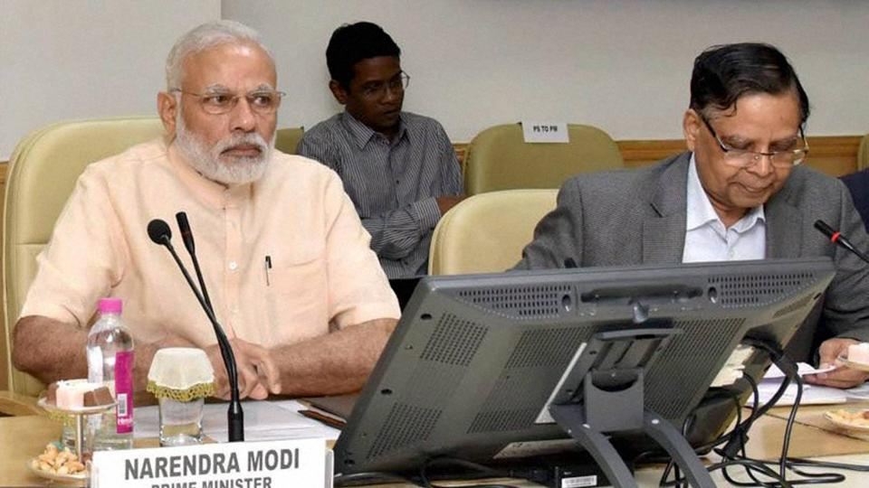 Prime Minister Narendra Modi with NITI Aayog vice chairmanArvind Panagariya during a meeting in New Delhi.