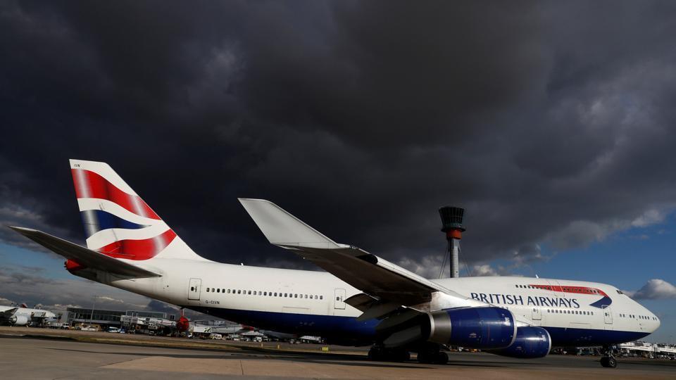 A British Airways aircraft taxis at Heathrow Airport near London.