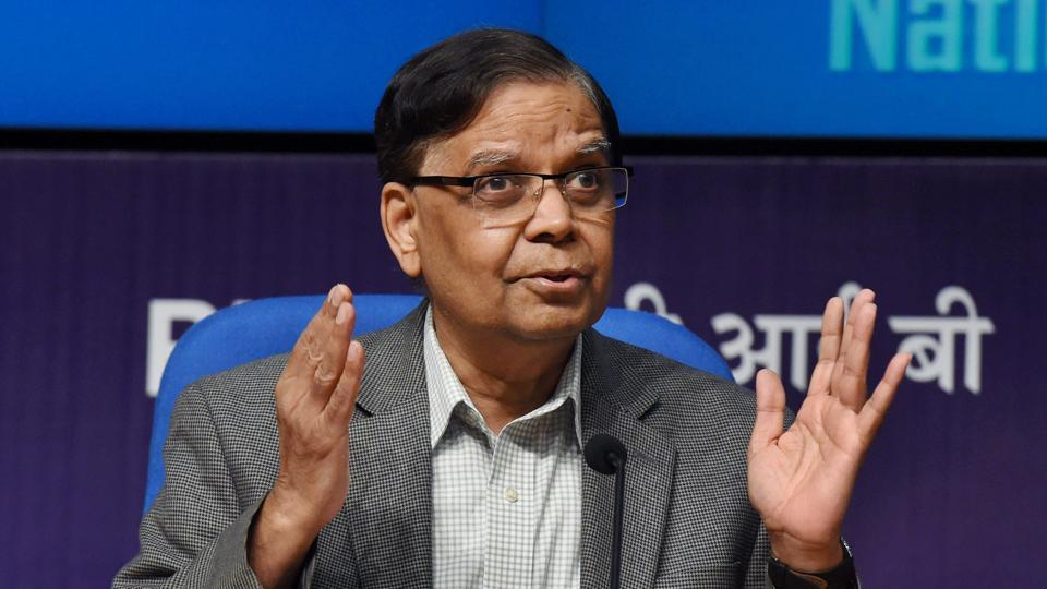 Vice Chairman, NITI Aayog, Arvind Panagariya addressing a press conference on the State of Economy and achievements under NITI Aayog over the past three years, in New Delhi on June 2.