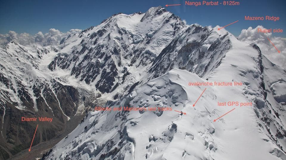 Image shows the area where Alberto Zerain and Mariano Galvan's last tracks were believed to have been seen before the avalanche on Mazeno Ridge while climbing Nanga Parbat in Pakistan.