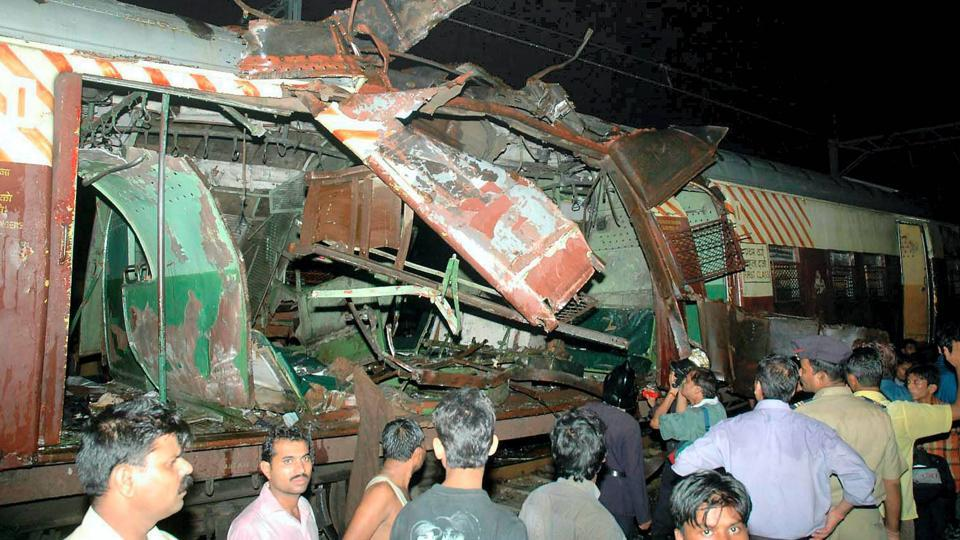 The bogie of a train that was blown apart in the blast at Mahim.