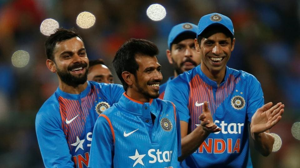 Yuzvendra Chahal (C) was not called up to the Indian squad for the ICC Champions Trophy and the tour to the West Indies.