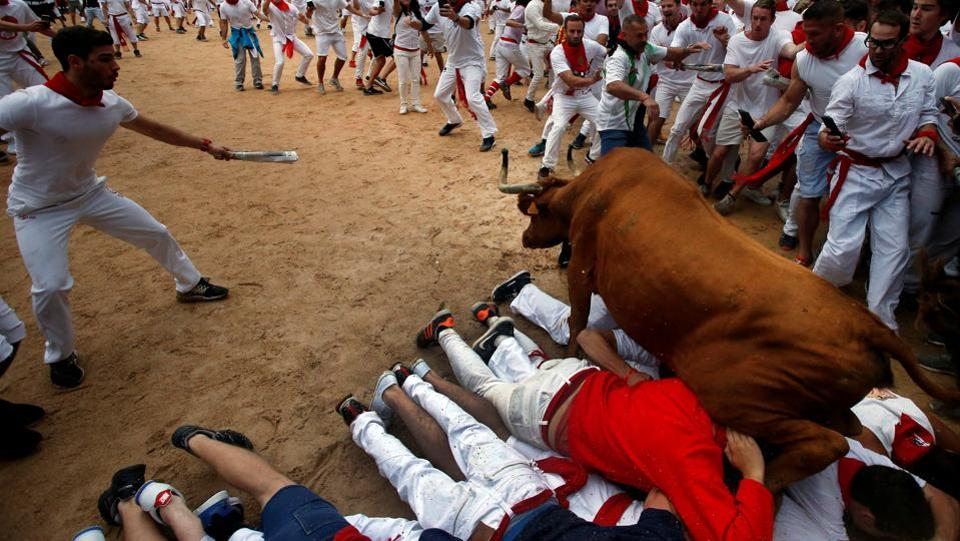 A wild cow leaps over revelers in the bull ring following the fourth running of the bulls at the San Fermin festival. (Joseba Etxaburu / REUTERS)
