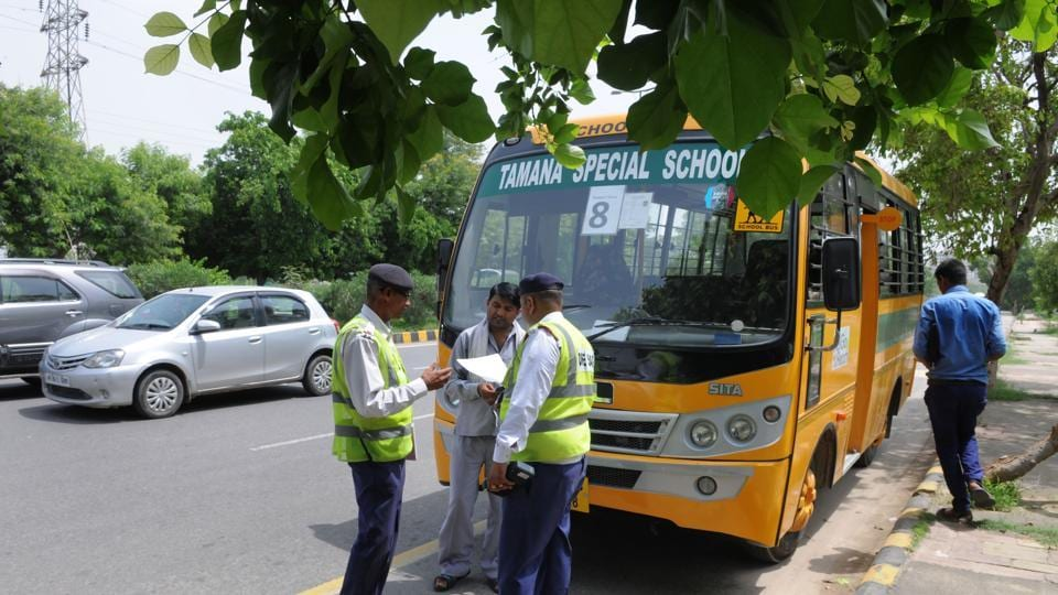 Gurgaon traffic police checks school buses during a campaign last Friday.