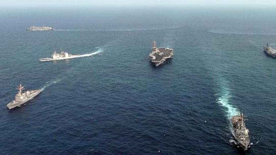 Vessels of the Indian Navy and US Navy in the Indian Ocean during a Malabar naval exercise. The geopolitical subtext of the Malabar exercise is complex and multi-layered (File Photo)