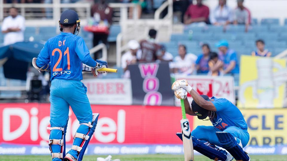 Rishabh Pant and Dinesh Karthik struggled to time the ball as West Indies wrested the initiative back from India. (AFP)