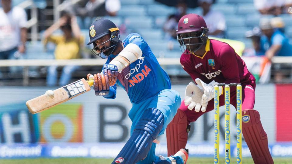 Dinesh Karthik struck a 29-ball 48 as India looked set for a big total. (AFP)