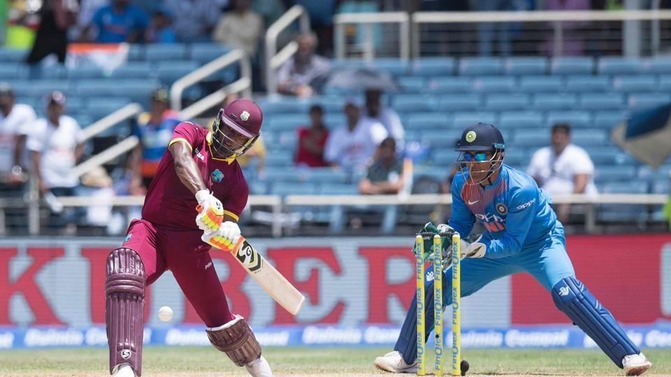 Evin Lewis continued to smash sixes at will as West Indies closed in on the target. (AFP)