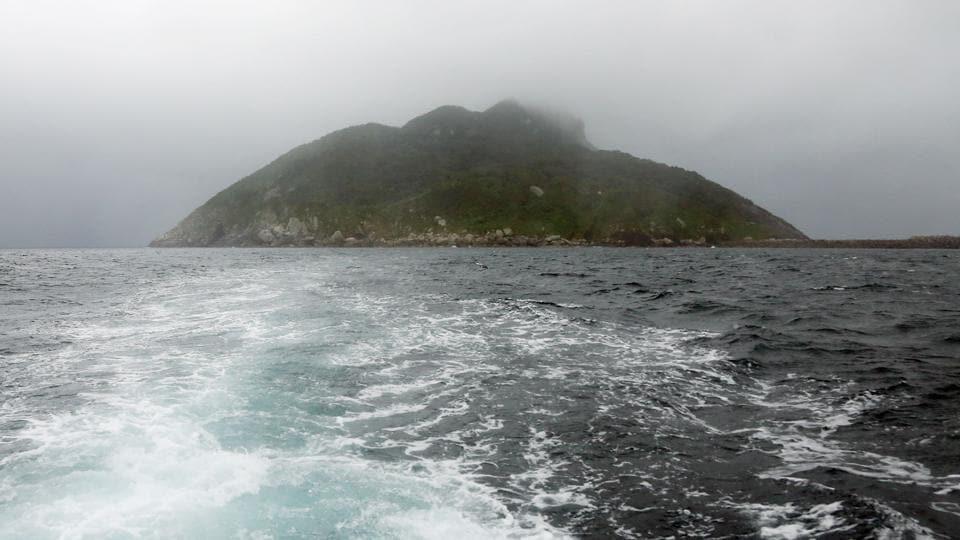 A view of Okinoshima island, some 60 kilometres from Munakata city, Fukuoka prefecture.
