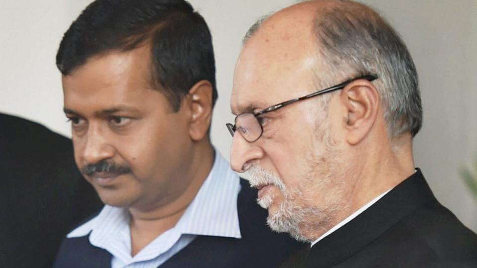 Lt Governor Anil Baijal with Delhi Chief Minister Arvind Kejriwal. Kejriwal had written to the L-G that he was not informed about the constitution of task force on traffic. The L-G wrote back to him that PWDminister Satyendar Jain was present in the meetings in which the issue was discussed.
