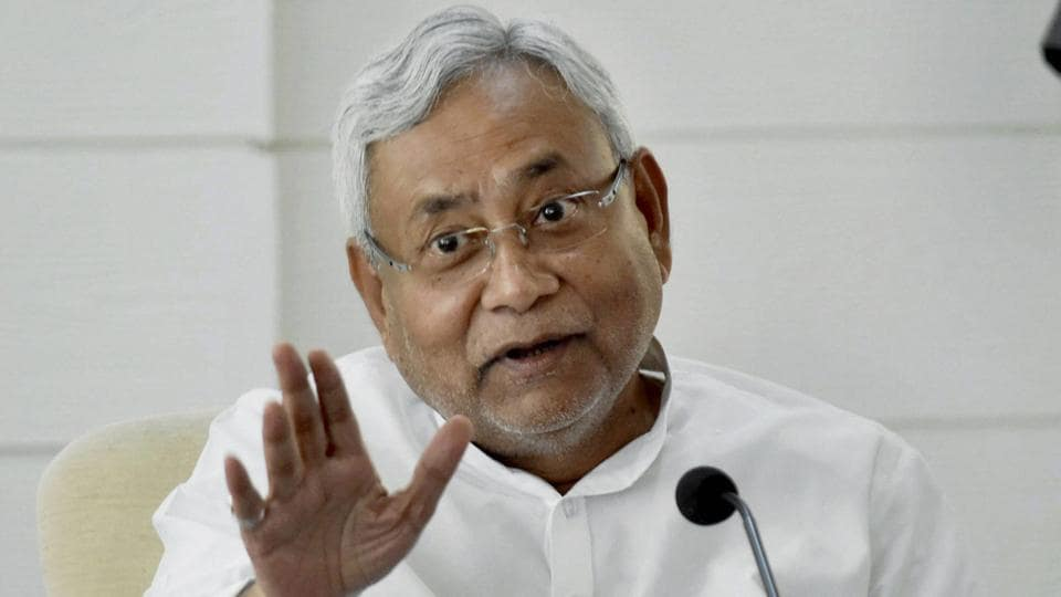 Bihar chief minister Nitish Kumar speaks to the media during a programme in Patna.