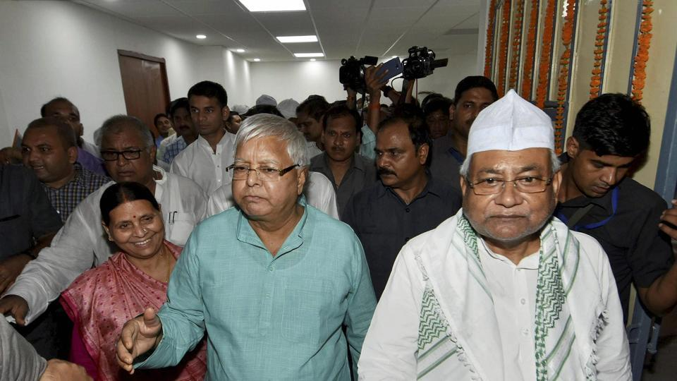 Nitish Kumar and RJD chief Lalu Prasad during an event in Patna.