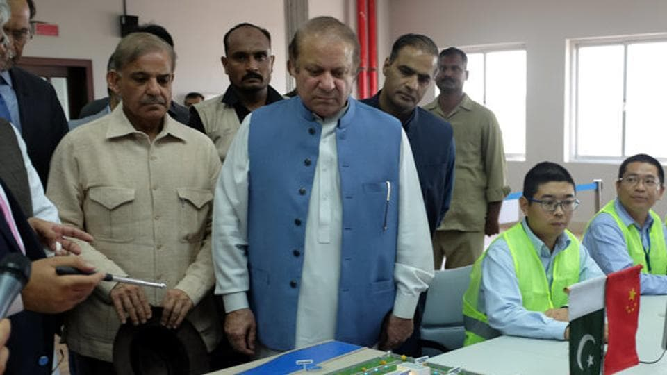 File photo of Pakistan Prime Minister Nawaz Sharif and his brother, Punjab chief minister Shahbaz Sharif, at an official event on July 7, 2017.