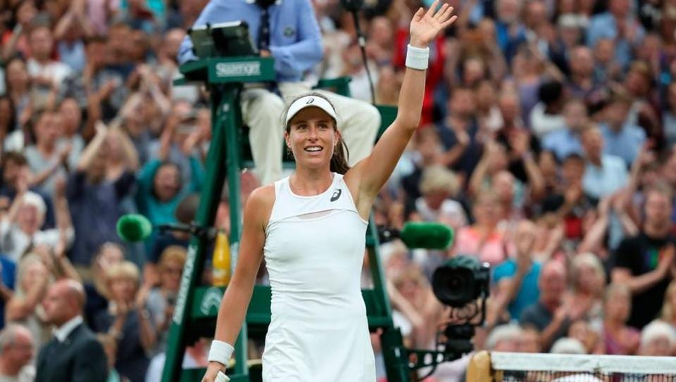 Johanna Konta beat second seed Simona Halep 6-7(2), 7-6(5), 6-4 to become the first British woman to reach theWimbledon last four after 39 years.